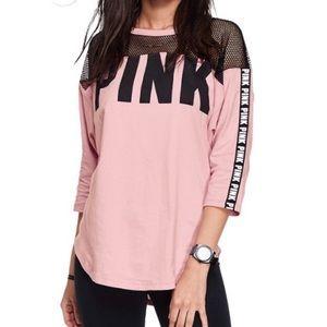 VS PINK mesh Boyfriend tee with logo trim